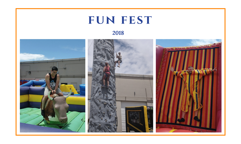 employees on a velcro wall, and riding a mechanical bull