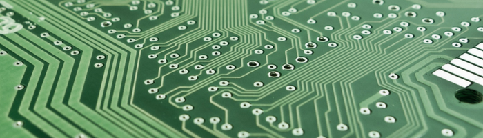 close-up of green circuit board