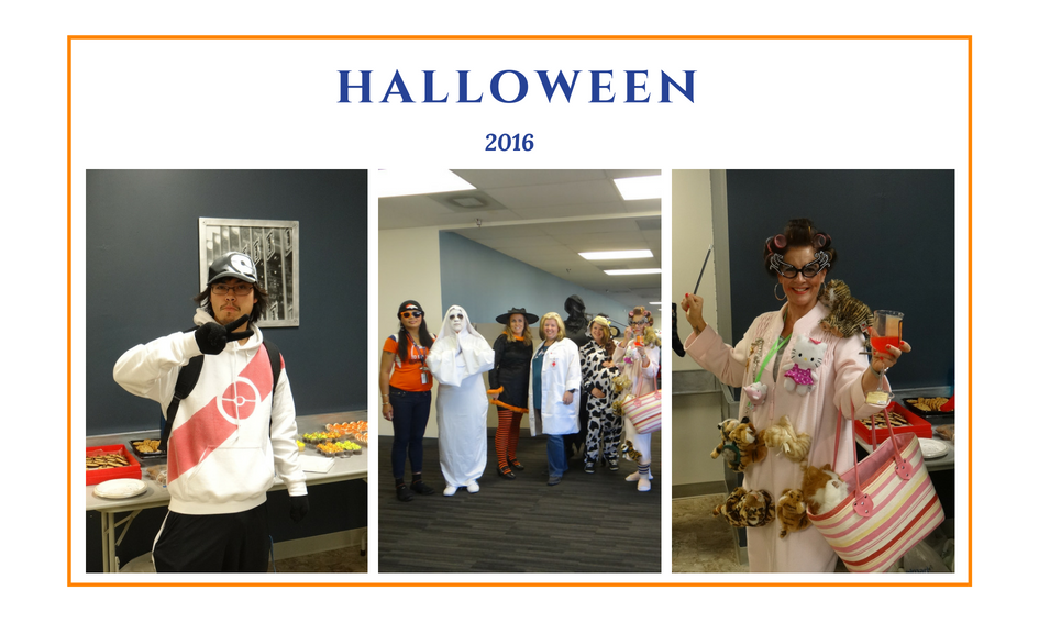 employees dressed in Halloween costumes