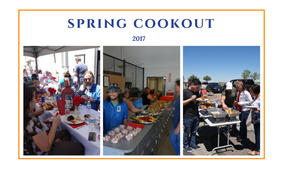 Employees having cookout in Advanced Assembly parking lot
